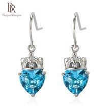 Bague Ringen 3 Цвета серьги для женщин длинные серебряные 925 ушные капли Модные женские ювелирные украшения в форме сердца драгоценный камень в ви...
