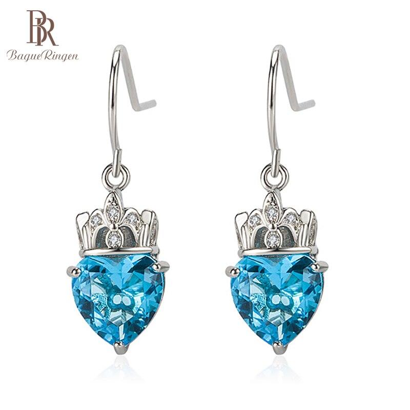 Bague ringen 3 cores brincos para mulher longo prata 925 gotas de orelha na moda feminino jóias finas em forma de coração pedra preciosa rainha coroa