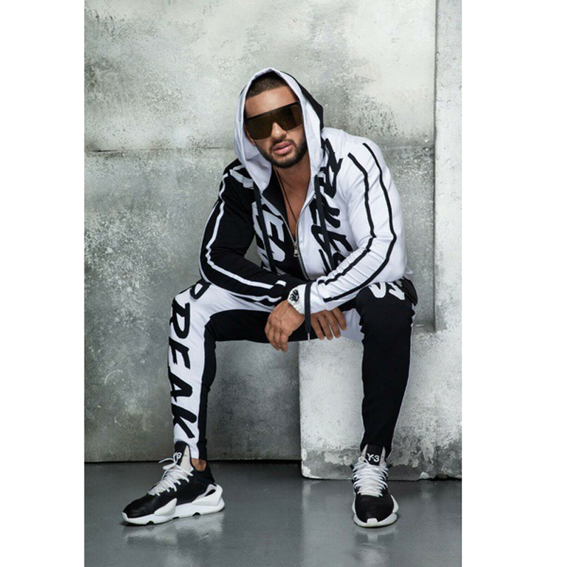 Fitness Hooded Letters Jogging Running Color Matching Personality Hip Hop Cardigan Men's Sports GYM Suit