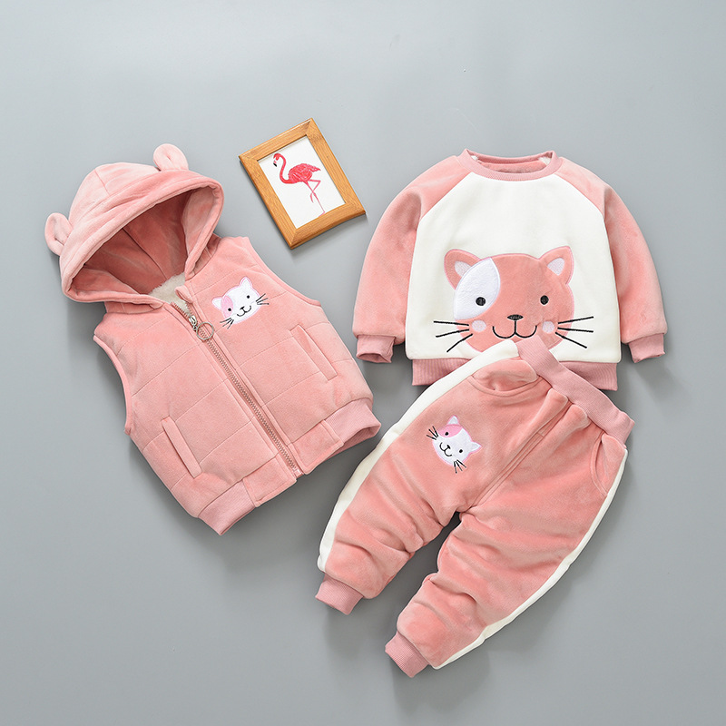 Baby girl clothes winter warm clothes gold velvet cat cartoon printing plus velvet padded sweater babyboy hooded vest 3piece set