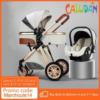Multi-funcional 3 em 1 carrinho de bebê alta paisagem pode sentar reclinável luz dobrável dois-way eggshell design carrinho de bebe 1