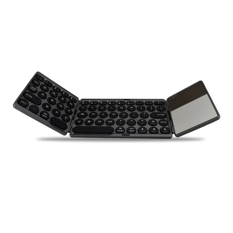 <font><b>64</b></font> Keys Triple Folding Gaming <font><b>Keyboard</b></font> Bluetooth Wireless PC Keypad Touch-Pad Triple Bluetooth <font><b>Keyboard</b></font> With Rich Shortcuts image