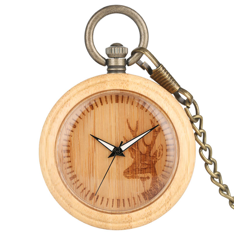 Elk Bamboo Pocket Watch Fob Wooden Natural Lightweight Chain Watches Animal Carving Open Face Pocket Clock Relogio De Bolso