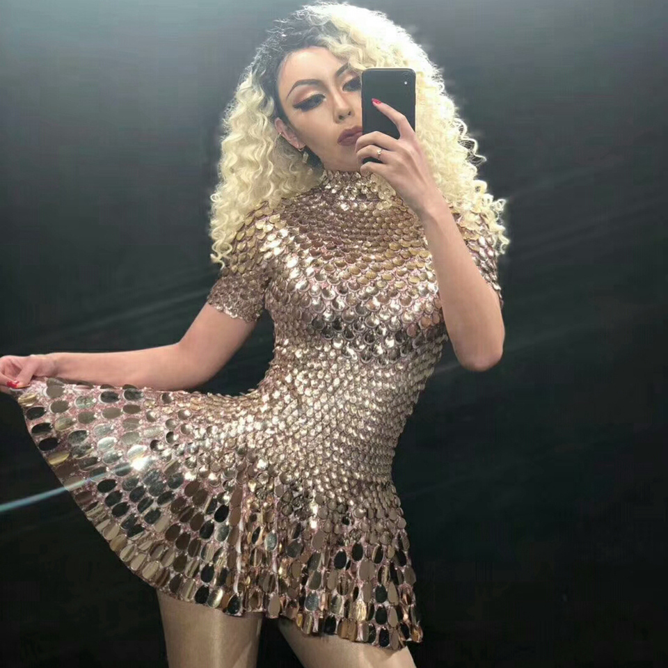 Sparkly Sequins Dress Women Sexy Dance Costume Celebrate Party Dress Birthday Silver Dresses Sexy Nightclub Event Leotard Outfit