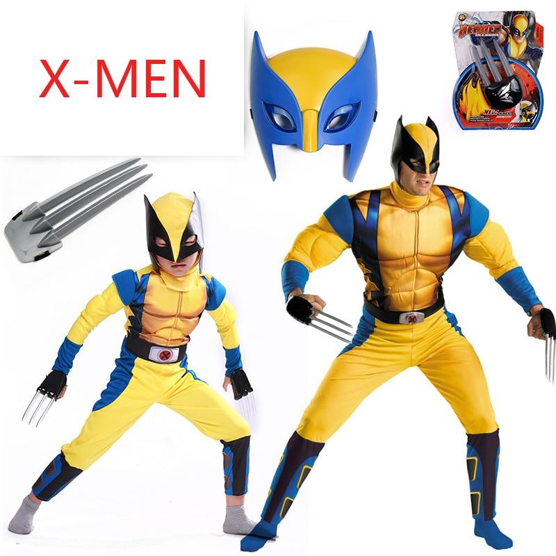 Movie Endgame Wolverines Costume Kids Boys X-Men Superhero Cosplay Party Fancy Dress Children Birthday Super Hero Adult Man Male