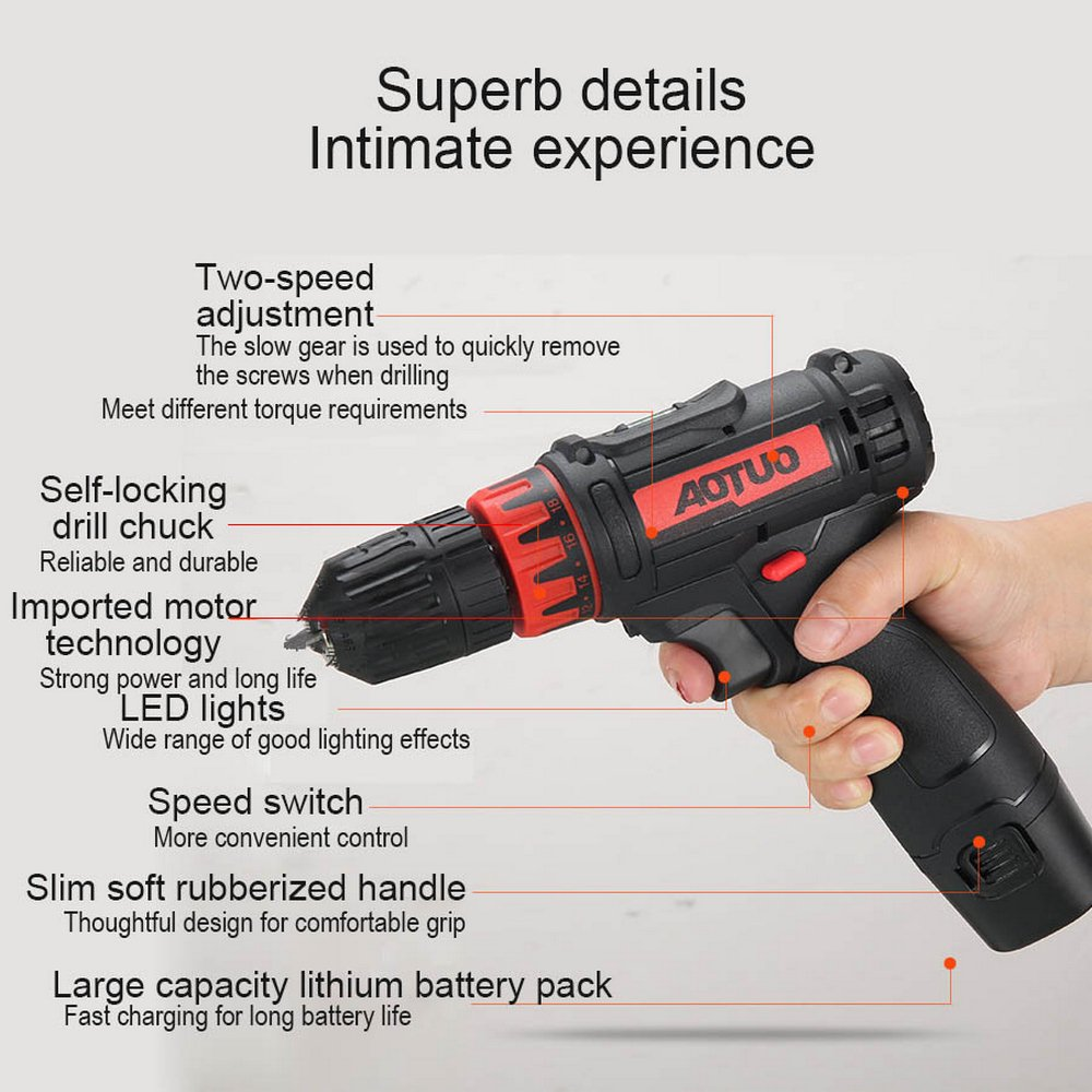 Cordless Lithium Electric Drill 12V 4500mAh LED Wall Punching Replaceable Drill Wireless Handheld Power Tool With 3pcs Brush