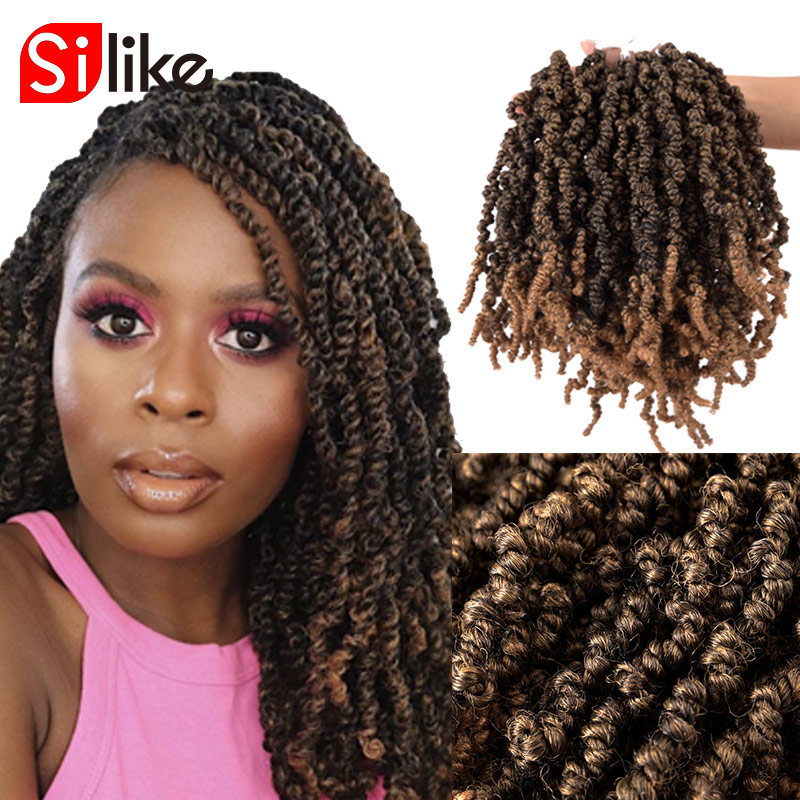 Spring Twist 10 Inch Pre-Stretched Crochet Braids Fluffy Twists Braiding Hair Synthetic Crotchet Hair Extensions Ombre Color