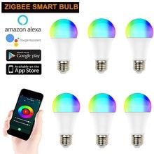 1/2/3/6/8/10 Uds ZigBee 3,0 Tuya inteligente bombilla Led para lámpara de luz E27 240V RGB + W + C trabaja con Smartthings Alexa Eco Centro de Google 10W