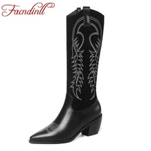 FACNDINLL 2019 new knee high boots for women qulaity suede matte slip on female black brown riding autumn shoes