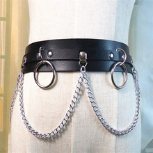 2019 New Punk Gothic Faux Leather Belt Metal Chain Ring Waist Strap Street Dance Decor Trend Geometric
