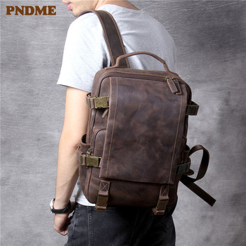 PNDME vintage anti-theft crazy horse cowhide mens backpack casual high quality genuine leather travel laptop bagpack bookbag