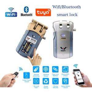 Image 1 - Wafu HF 010 Wifi APP חכם מנעול אלחוטי אלקטרוני מנעול דלת טלפון בקרת מנעול בלתי נראה שלט רחוק מקורה מגע מנעולים