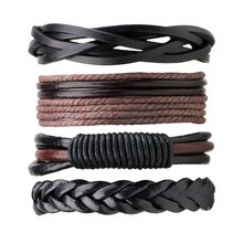 4PCS/PACK Punk Style Vintage Handmade PU Leather Braided DIY Men Black Brown Casual Bracele