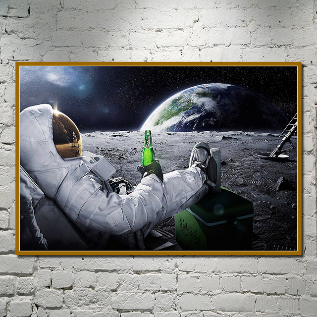 Wall Art HD Printed Canvas Painting Beers Outer Space Earth Astronauts Moon Cuadros Poster Prints Wall Pictures for Home Decor