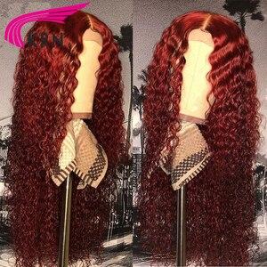 Image 2 - KRN 99J 13x6 dantel ön peruk insan saçı bordo renkli İnsan saç kıvırcık peruk ücretsiz bölüm brezilyalı dantel Remy peruk kadınlar için 180%