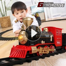 Electric Train Toy Car Railway and Tracks Steam Locomotive Engine Diecast Model Educational Game Boys Toys for Children Kid Gift
