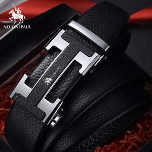 NO.ONEPAUL Belt male leather young man automatic buckle pure first layer leather belt men's trendy cowhide business H-shaped