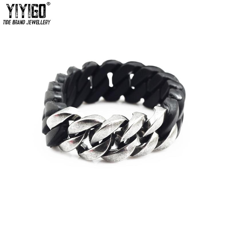Genuine curbbz-Negro Y Pulsera De Plata-Fashion Jewellery-Silicona Y Metal