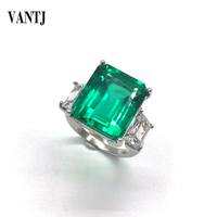 VANTJ Real 10K Gold Rings Sterling Lab Grown Created Emerald Moissanite Fine Jewelry Women Party Wedding Gift