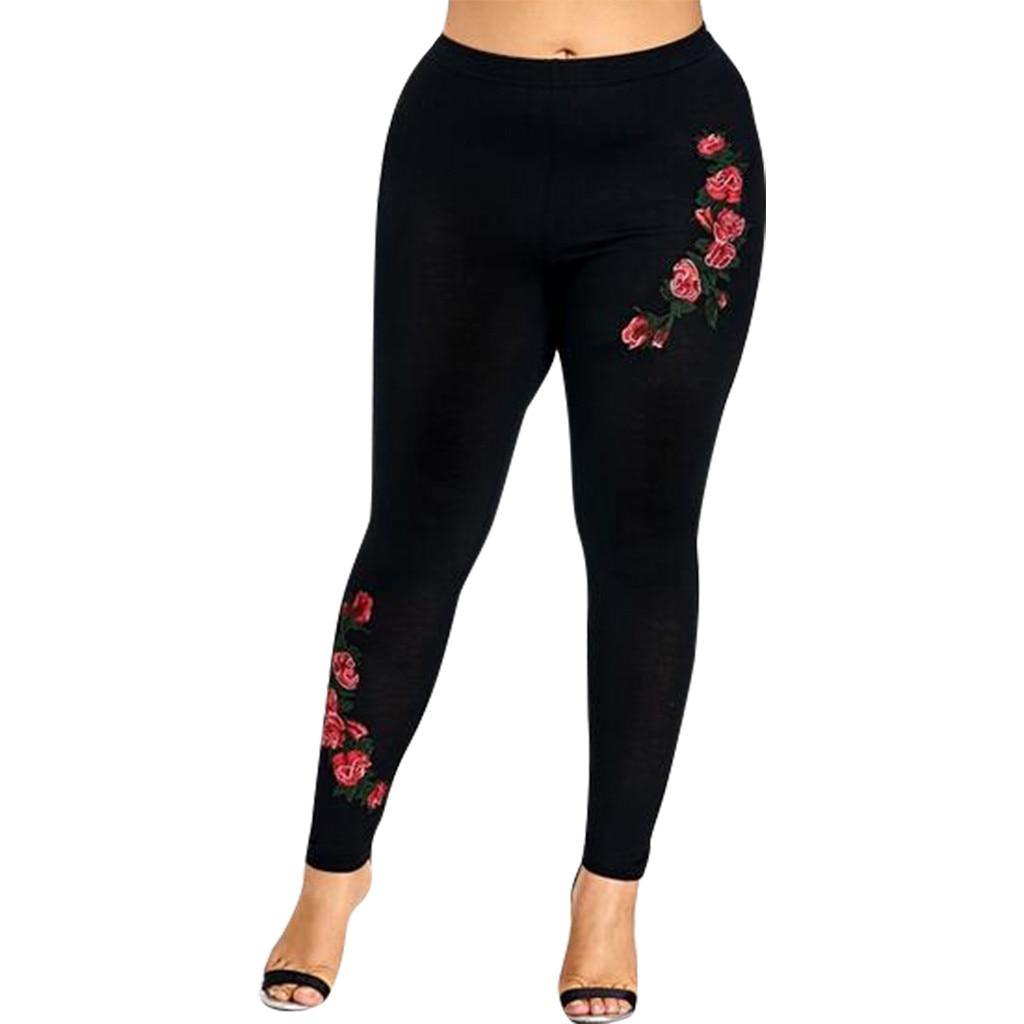 Vintage Flower Print Sexy Womens Appliques Black Jean Denim Ladies Autumn Winter Solid High Waist Plus Size Skinny Pencil Pants