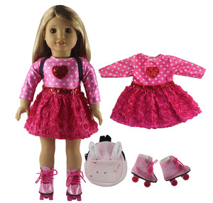 Image 4 - New 1 Set Pink Dress Doll Clothes for 18 American Bitty Baby Doll Handmade Fashion Lovely Clothes X89