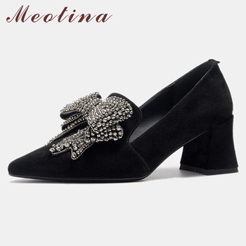 Meotina High Heels Women Pumps Kid Suede Rhinestone Thick High Heel Shoes Real Leather Pointed Toe Party Shoes Lady Big Size 42