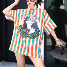 2019 Summer and autumn News Womens clothing cute Cartoon Loose blouse  B&B Style short sleeve loose Japanese style long tops