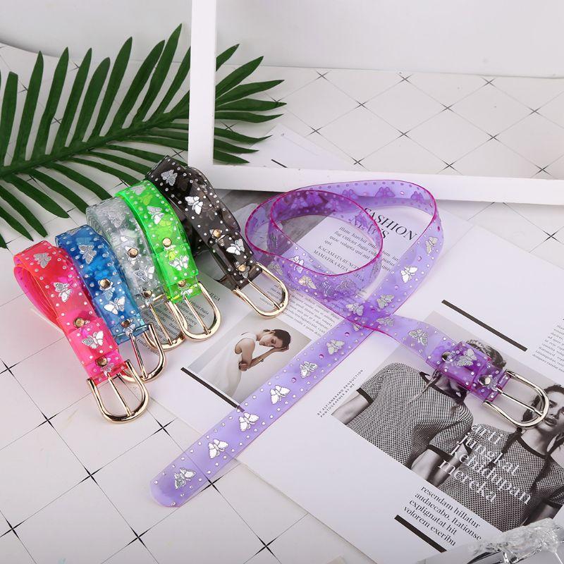 Luxury Brand Girl Beltd 2020 Fashion Sweet Candy Color Laser Butterfly Designer Women Dress Transparent Jelly Flower Waist Belts