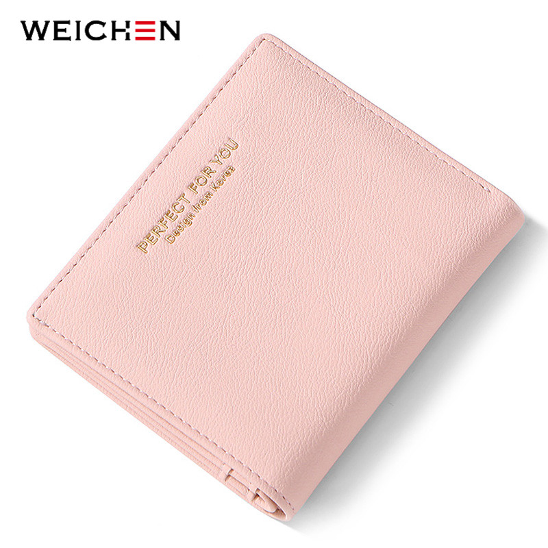 WEICHEN Thin Women Wallets Zipper Coin Bag In Back Pink Soft Leather Ladies Purse Card Holder Slim Purse Female Small Wallet NEW