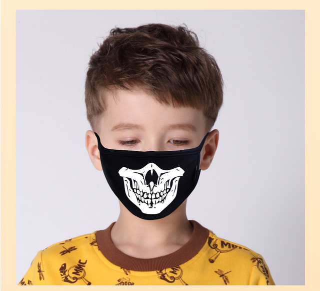 Kids Cartoon Mask Cotton Dustproof Anime Kpop Lucky Bear Girls Boys Glow In Dark Skull Mouth Masks Black Mouth Half Muffle Mask 2