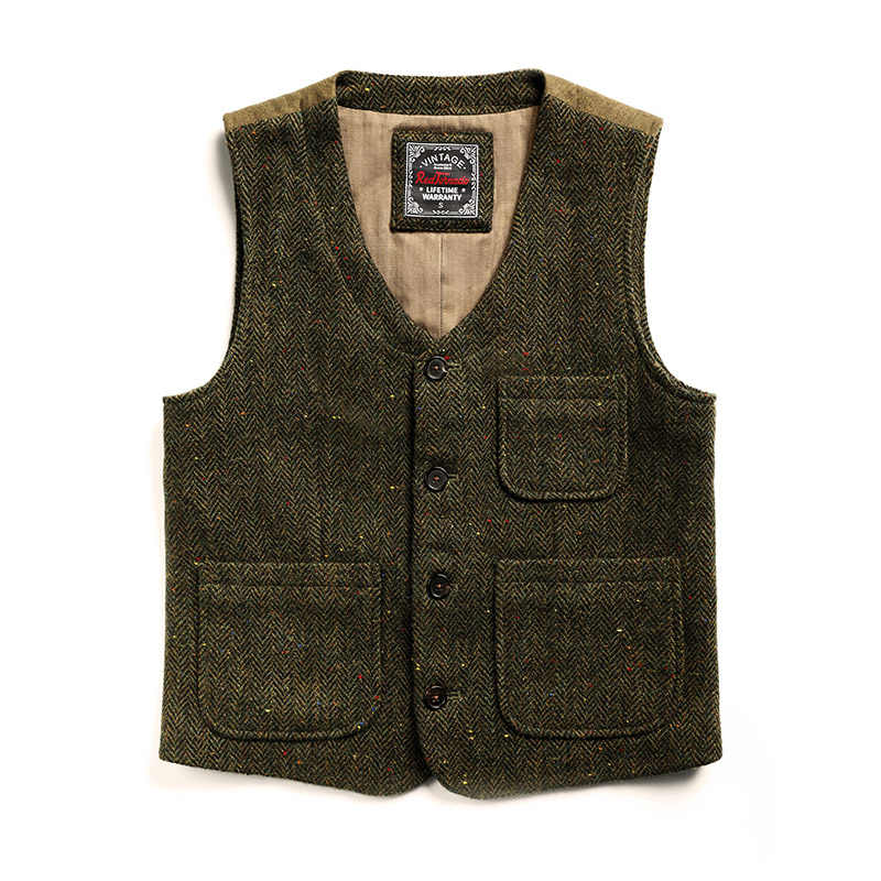 MJ-0005 Read Description! Asian size vintage 100% wool vest 560 GSM mens casual tweed vest