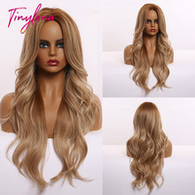 TINY LANA Synthetic Wigs Super Long Brown Golden Ash Blonde