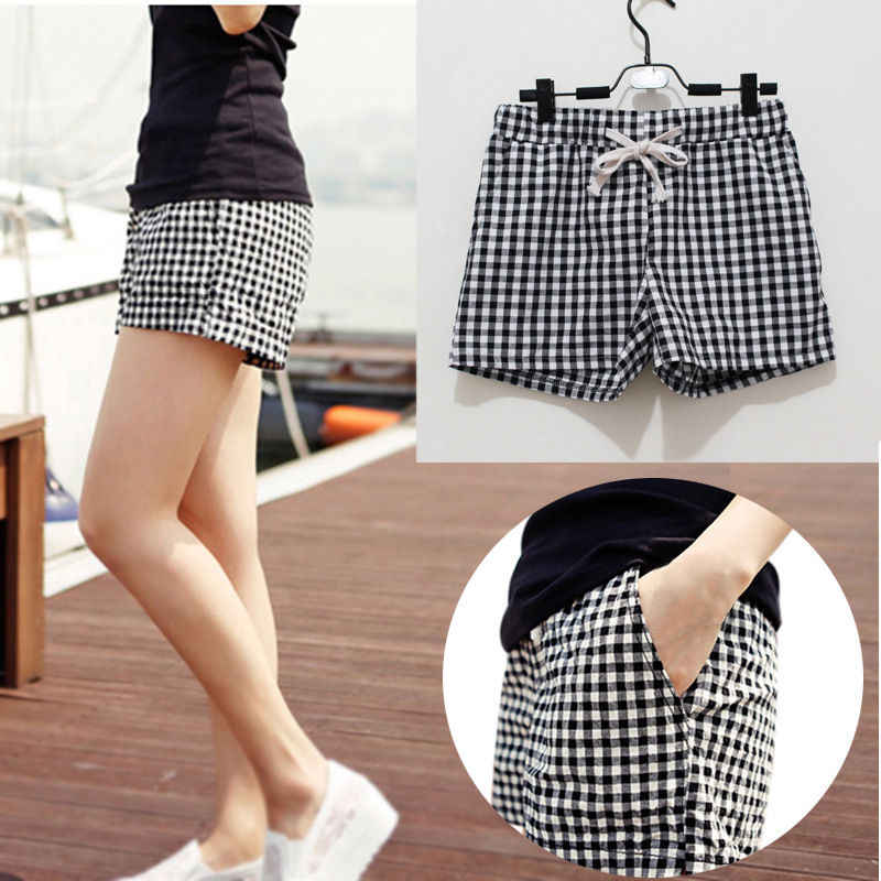 Newly Fashion Women Plaid Shorts Casual Loose Elastic Waist All-Match Summer Cotton Short Pants