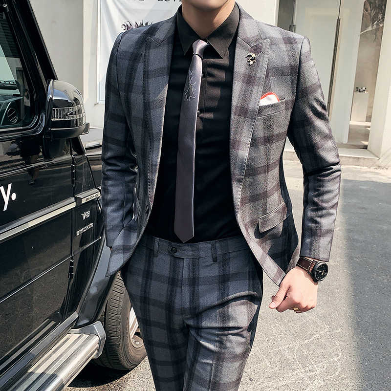 British Style Slim Fit Men S Set Two Piece Suit Coat Pants Male Fashion Plaid Autumn Groom Wedding Blazer Jacket Trousers Suits Aliexpress