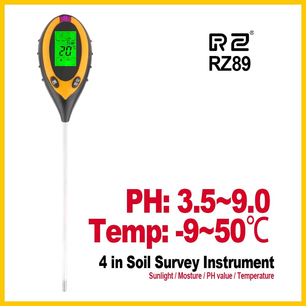 RZ Soil Moisture Meter Garden Gardening Farming Acidity Moisture PH Measurement Tool Sunlight Hydroponics Analyzer Detector RZ89