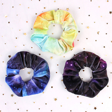 1 Pcs New Women/Girls Sweet Starry Sky Print Elastic Hair Bands Ponytail Holder For Hair Scrunchies Headbands Hair Accessories stylish starry sky print elastic leggings for women