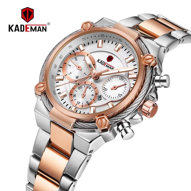 KADEMAN New Ladies Watches TOP Brand Luxury Business Women Wristwatch 3TAM Full Steel Bracelet Quartz Watch Fashion Female Clock