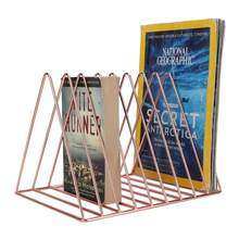 Nordic Triangular Iron Shelves Book File Holder Desktop Organizer Storage Rack with 9 Slots Bookshelves(China)