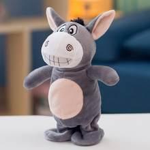 Eletrônico burro brinquedo de pelúcia falando burro elétrica animais de estimação gravação de pelúcia brinquedos de passeio inteligente bonito falar música e andar bonecas animais de estimação