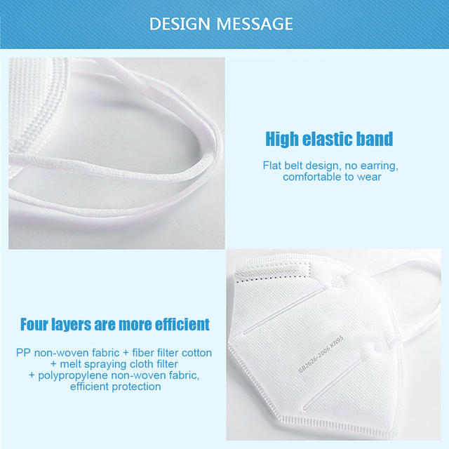 KN95 Kids Face Masks 4 Layers Breathable Anti Dust Anti-Haze Fog PM2.5 KN95 Children's Mask Boy and Girl Protective Mouth Masks 3