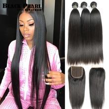 Pérola preta 30 32 34 polegada pacotes de cabelo peruano com fechamento 4 pc/lote cabelo humano em linha reta 3 pacotes com fechamento tecer cabelo humano