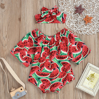 Newborn Infant Baby Rompers Boys Girls Clothes Watermelon Print Long Sleeve Jumpsuit +Hairband Outfits Set Toddler Baby Onesie 1