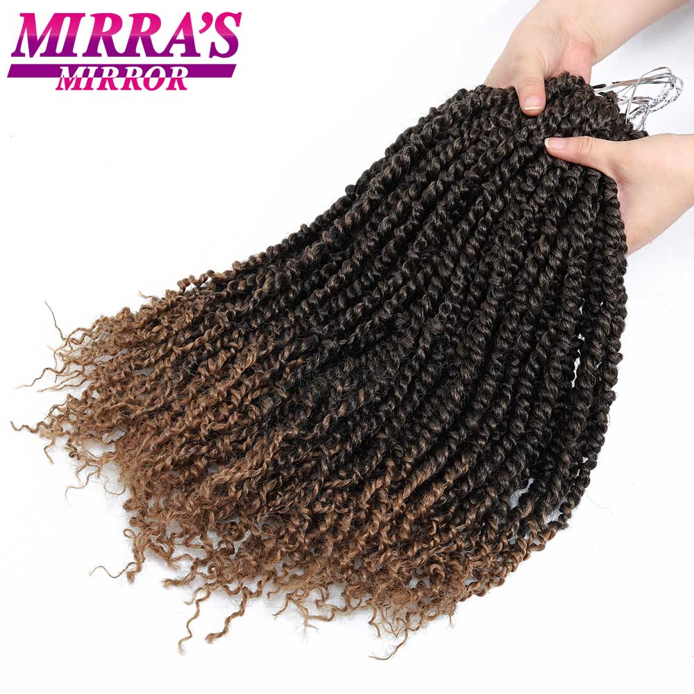 Passion Twist Crotchet Hair Extensions Synthetic Ombre Crochet Braids Fiber Pre looped Pre Twists Braiding Hair Mirra's Mirror image