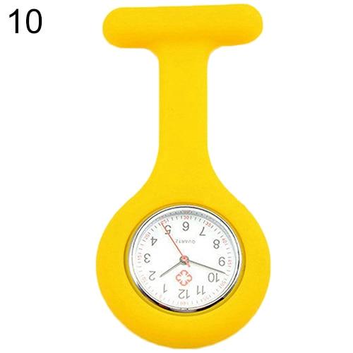 Модные повседневные женские часы Fob, милые силиконовые часы, часы для медсестры, брошь Fob, туника, кварцевые часы с механизмом, медицинские часы, reloj de b - Цвет: Цвет: желтый