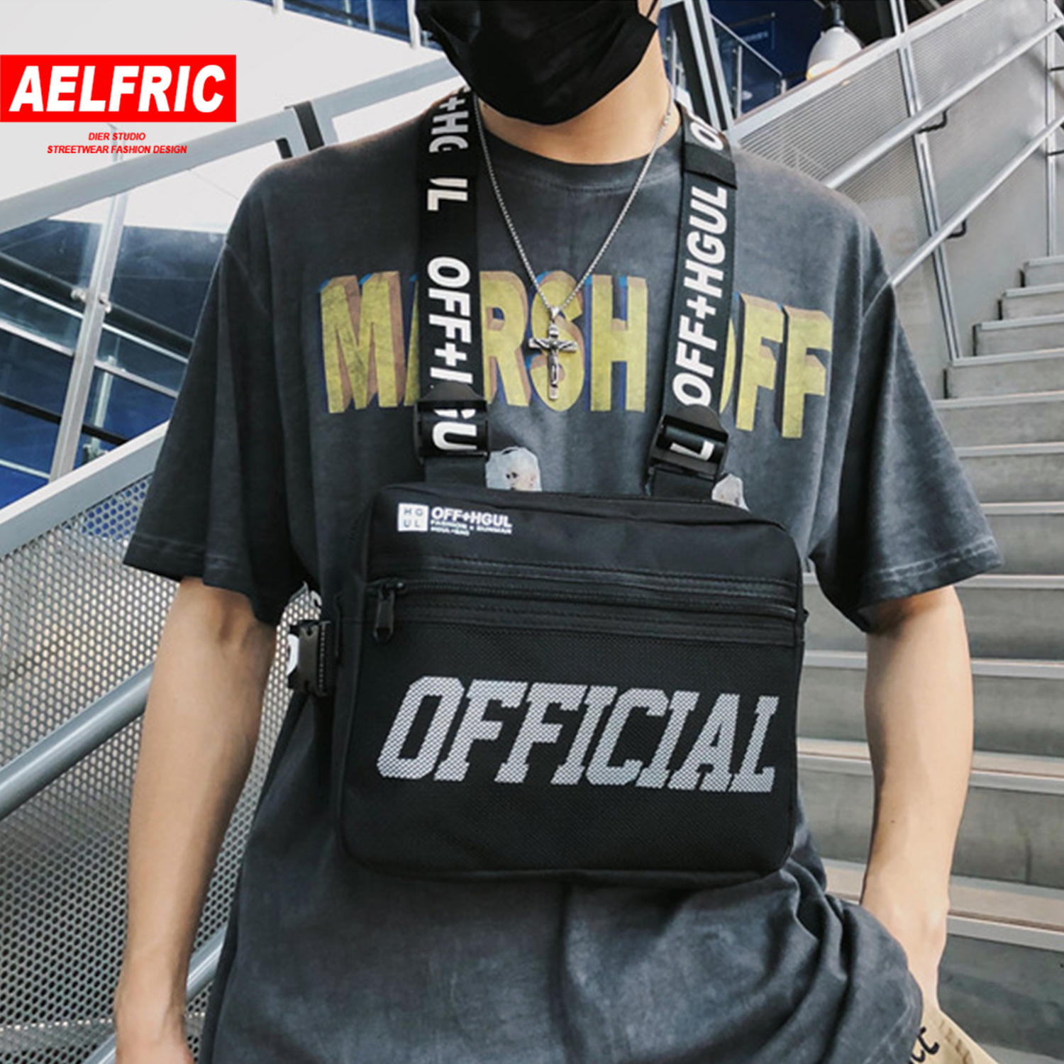 AELFRIC Streetwear Tactical Vest Hip Hop Style Crossbody Chest Bags Pack Men Women 2019 Fashion Solid Punck Waist Bag Fanny Pack