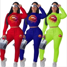 Cartoon Lips Print Two Piece Set Crop Top And Pants Sexy Casual Outfits Clothing Bodycon Bodysuit Activewear Leg Opening Zipper white sexy lips print print crop sweatshirt