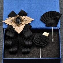 Korean Fashion New Handmade Men's Black Bowtie British Rhinestone Bow Ties Groomsman Wedding formalwear Pocket Towel Square Set