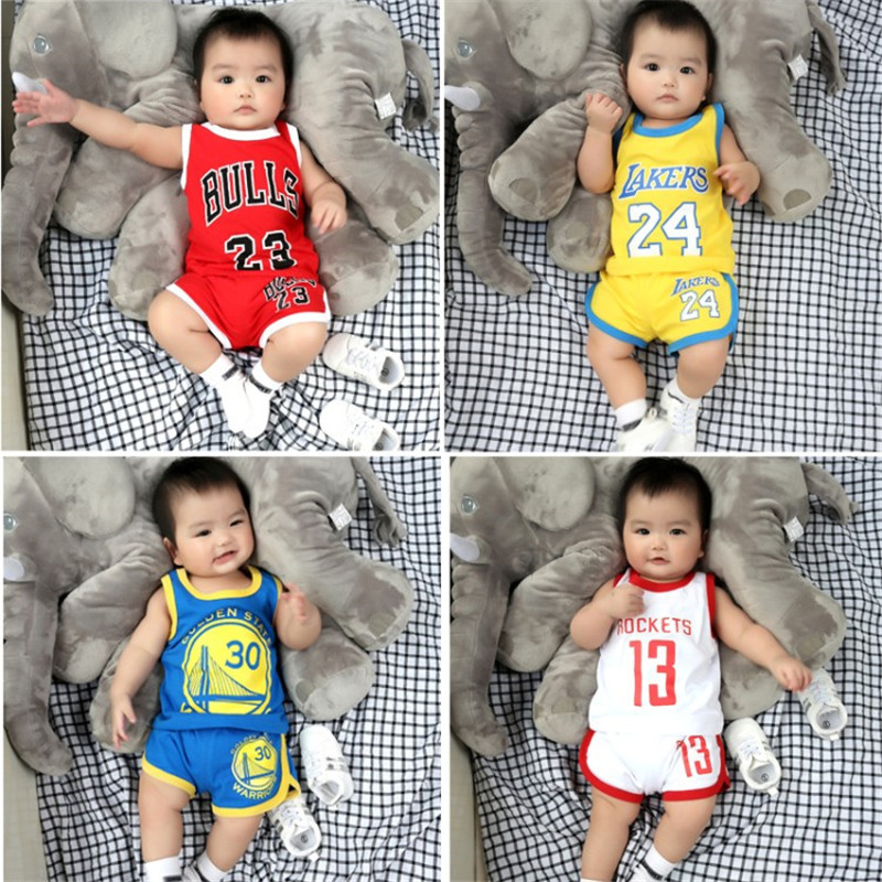 Infant Sports Set Basketball Women's Small CHILDREN'S Jersey Summer Baby Clothes Summer Thin BOY'S Summer Wear Two-Piece Set