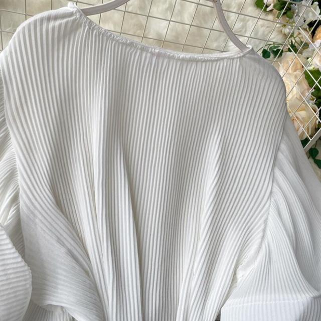 2020 Summer O-Neck Women Ruffles Chiffon Blouse Female Flare Sleeve Shirt Ladies Shirts Solid Color Women Tops And Blouses 5