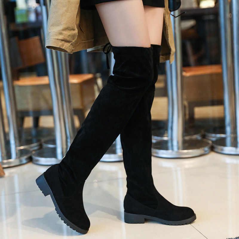 LZJ 2019 נשים של גודל 34-41 אופנה חדש חורף ירך גבוהה מגפי פו זמש חם עור עקבים גבוהים נשים של מעל לברך נעליים